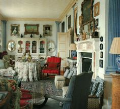 chintz in English library with Gothick cupboard