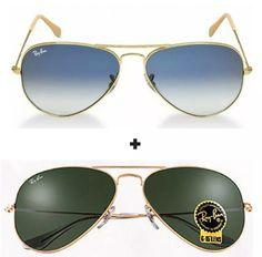 0e3232f2adb2a Promoção 2 óculos de sol Ray ban aviador venha escolher o seu frete grátis  para todo