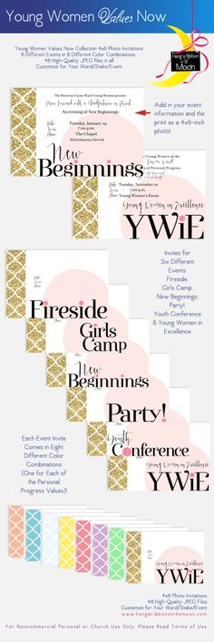 YW Values Now Collection: Free downloads! 4x6 Photo Invitations for New Beginnings, Young Women in Excellence, Girls Camp and more!