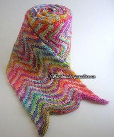 Радужный шарф волнами спицами, схема вязания узора зигзаг.