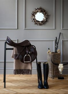 The perfect way to display riding boots and saddle
