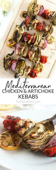 Make the most of late summer produce with these Mediterranean Chicken and Artichoke Kebabs! This healthy dinner is made entirely on the grill, no need for a steamer basket or boiling artichokes. (#glutenfree  #dairy-free)| sponsored #artichokes #grilling