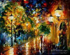 Leonid Afremov Rainy Romance oil painting reproductions for sale
