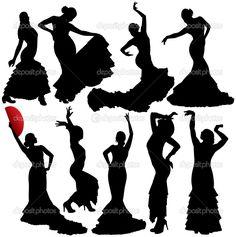 Descargar - Mujeres bailando salsa y flamenco vector siluetas conjunto. capas. totalmente editables — Ilustración de stock #18954965