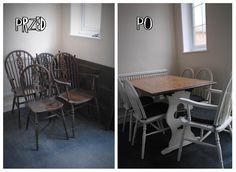 krzesła i stół przed i po odnawianiu