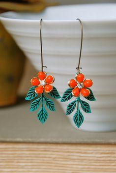 Foliage.blue patina leaf ,orange flower earrings. Tiedupmemories