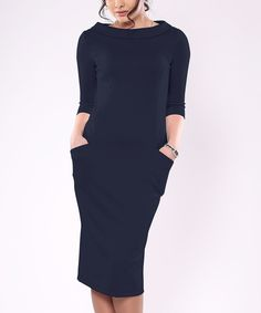 Loving this Laura Bettini Navy Pocket Boatneck Sheath Dress Dress - Plus Too on #zulily! #zulilyfinds