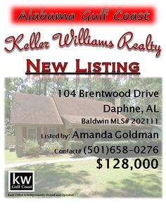 104 Brentwood Drive, Daphne, AL...MLS# 202111...$128,000...Beautiful home with inviting wraparound porch is move-in ready! Deep porch with swing says welcome & relax. Large back deck and well-landscaped fenced yard great for entertaining & family barbecues. Brand new kitchen appliances. Woodburning stove in livingroom warms whole house. Separate air conditioning unit for upstairs/downstairs saving money. Abundant storage. Ceiling fans in bedrooms and LR. Contact Amanda Goldman at…
