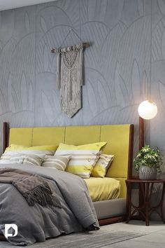 Bring home strength and hopefulness with these incredible Pantone's colours of the year 2021 . Bedroom Wall Paint Colors, Room Wall Painting, Paint Colors For Home, Wall Paint Colour Combination, Yellow Accent Walls, Brick Cladding, Bedroom Setup, Color Of The Year, Inspired Homes