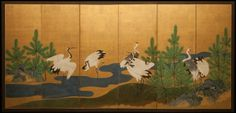Japanese Screen: Cranes and Pines on Gold
