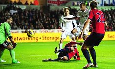 Swansea City's Wayne Routledge scores in the Premier League game at West Bromwich Albion