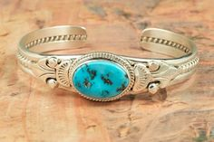 Turquoise Jewelry  Genuine Sleeping Beauty Turquoise set in Sterling Silver Bracelet. Created by Navajo Artist John Nelson. http://www.treasuresofthesouthwest.com/turquoise-jewelry.html