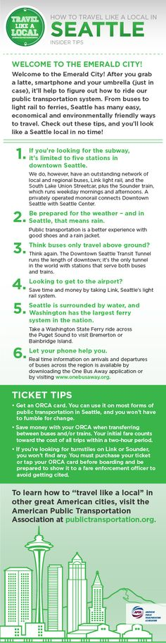 "A trip to Seattle sounds great! ""Travel like a local"" in the Emerald City and take transit. Buses, streetcars, ferries and more!"