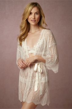 Hanky Panky Leandra Lace Robe in  Bride Bridal Lingerie at BHLDN