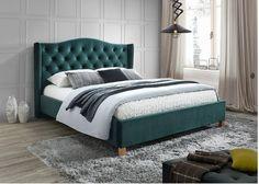 Pat tapitat catifea Aspen Verde - 160 x 200 cm Room Design Bedroom, Bedroom Furniture Design, Bedroom Bed, Bedroom Decor, Small Luxury Hotels, Velvet Bed, Old Room, Upholstered Bed Frame, New Home Designs