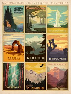National Parks Multi-Print - This classic travel poster celebrates the history and wonder of 9 beloved American National Parks. Created in the tradition of the WPA posters of the 1920s, 30s and 40s, this limited edition print is sure to spur your sense of adventure and national pride.