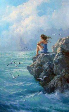 Island of the Blue Dolphins Canvas Wall Art - Canvas Wall Decor Beach Art, Beach Canvas, Beautiful Paintings, Deep Paintings, Love Art, Female Art, Art Girl, Amazing Art, Canvas Wall Art