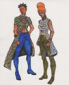 Concept sketching Dora Milage - incorporating color, fabric and hair into athletic, semi-practical superhero costumes