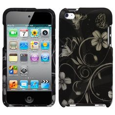 Rubberized Black Silver Vine Flower Butterfly Snap on Design Case Hard Case Skin Cover Faceplate for Apple Ipod Touch 4g 4th Generation by ACCESSORYSQUAD, http://www.amazon.com/dp/B0047S5VQY/ref=cm_sw_r_pi_dp_c9Hmrb1T6E7FC