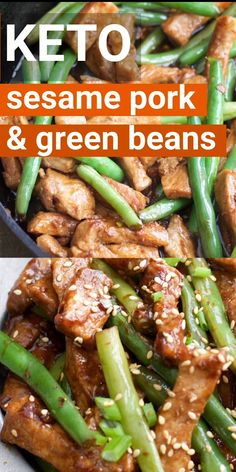 One Pan Keto Sesame Pork and Green Beans has just net carbs per serving and is loaded with tangy Asian flavor! One Pan Keto Sesame Pork and Green Beans has just net carbs per serving and is loaded with tangy Asian flavor! Ketogenic Recipes, Low Carb Recipes, Diet Recipes, Cooking Recipes, Healthy Recipes, Ketogenic Diet, Recipes Dinner, Breakfast Recipes, Dessert Recipes