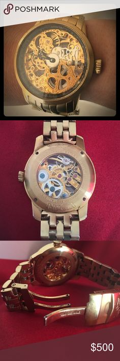 Men's INVICTA Specialty Collection Watch INVICTA ✨Special Collection Mechanical Gold Plated watch Model# 5001. Mechanical hand-wind movement, mineral crystal, gold see thru skeleton dial, water resistant, big face.  Case diameter 46 mm fold over clasp w/ safety. Beautiful rare find for MEN or WOMEN ✨🕑✨ Invicta Accessories Watches