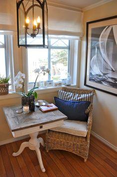 Cozy corner for my living room. Home Interior, Interior Design, Coffee Nook, Living Spaces, Living Room, Kitchen Nook, Home Kitchens, Rustic Kitchens, Decoration