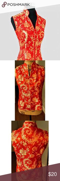 Red and Gold Traditional Chinese/Oriental Blouse Brand: Siruiyi. Tagged size Large, but runs very small. Siruiyi Tops Button Down Shirts