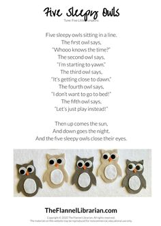 Five Sleepy Owls Preschool Song and Felt Set for Flannel Board Circle Time