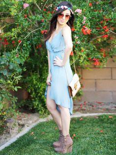 Blue dress, flower headband, stripe canvas purse <3