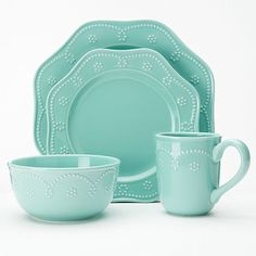 Set a uniquely charming table with this Food Network Fontinella Beaded 4-pc. Place Setting in aqua. Features an elegant scalloped design. Dishwasher & microwave safe. $29.99. Buy here.