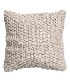 Gray-beige. Moss-knit cushion cover with woven cotton fabric at back. Concealed zip.