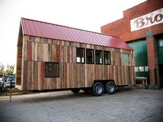 Aaron Maret's Pocket Shelter is a sustainable home on wheels constructed with recycled and salvaged wood. Eco Architecture, Portable House, Modern Tiny House, Eco Friendly House, House Built, Tiny House On Wheels, Green Building, Prefab, Sustainable Design