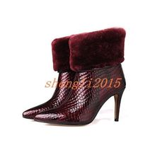 Women'S Rabbit Fur Shaft Stiletto Pointy Toe Back Zipper High Heel Ankle Boots