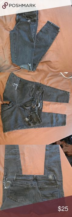 American Eagle Black Ripped Jeans American Eagle Black Ripped Jeans. Very cute, size 8. Great condition American Eagle Outfitters Jeans Skinny