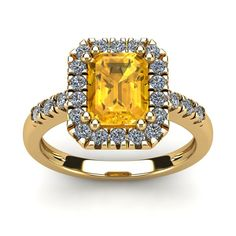 2 Carat Emerald Cut Citrine and Halo Diamond Ring In 14 Karat Yellow Gold: This stunning gemstone and diamond… #DiamondJewelry #DiamondRings