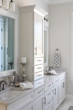Master bathroom: like division between sinks with drawers. 2014 Birmingham Parade of Homes Ideal Home master bathroom Bathroom Renos, Bathroom Renovations, Bathroom Storage, Small Bathroom, Master Bathrooms, Master Baths, Master Bathroom Vanity, Design Bathroom, Bathroom Double Sinks