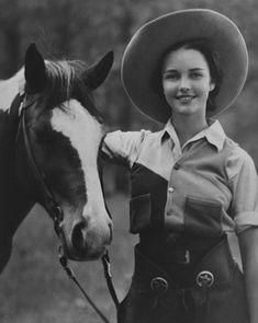 A Jennifer Jones at Ranch Camp (aka horse camp), 1934 Charles Bronson, Jennifer Jones, Mae West, Yayoi Kusama, High Level, Horse Camp, The Golden Years, Hollywood Star, Oui Oui