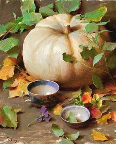 """White Pumpkin with Vines"" by Daniel Keys Oil ~ 20"" x 16"""