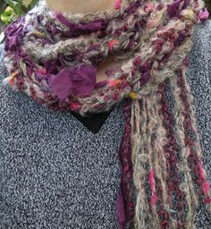Crochet scarf multicolor skinny long knit by LifesAnExpedition, $36.00