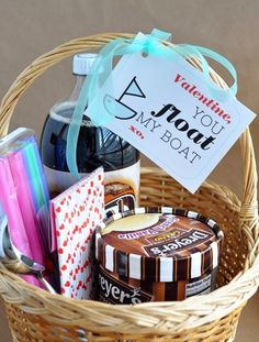 Easy and cheap and fun Valentines day gift for him / her . ' You float my boat ' . Rootbeer floats / coke floats . Basket from Michaels Craft store. Straws, and an ice cream scooper and the perfect easy gift