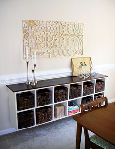 Love floating furniture I want to make one in the dining room so bad!!!    Design Itch: BEFORE, DURING & AFTER: Floating Cubby Buffet