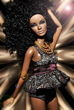 """My new doll's first photo shoot!and doesn't she look amazing? I decided to do a fashion campaign using different mosaics, kaleidoscopes and textile patterns This one is """"gold"""" portrayed by the lovely Theo African American Beauty, African American Dolls, African Dolls, Beautiful Barbie Dolls, Pretty Dolls, Fashion Royalty Dolls, Fashion Dolls, Diva Dolls, Dolls Dolls"""