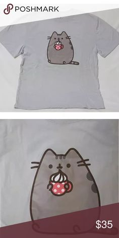 Pusheen Unisex Gray Hot Cocoa T-shirt Medium New without tags. Never worn. Limited Edition Pusheen Tops Tees - Short Sleeve