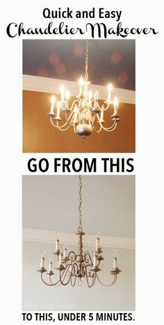 How to modernize a traditional brass chandelier brass chandelier chandelier makeover in minutes just think of all the dated brass chandeliers we could save brass chandelier makeoverspray painted aloadofball Images