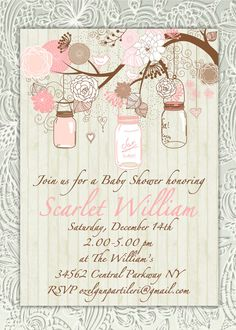 Rustic Shabby Chic Mason Jar Baby Girl Pink, Light Peach, Baby Shower Invitation on Etsy, $18.50