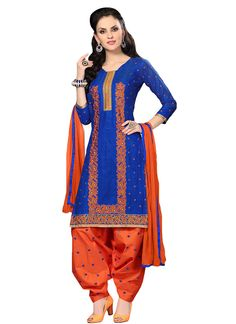 Blue Embroidered Patiala Suit
