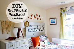 DIY Headboard. Farmhouse planked headboard in a weathered gray wash.