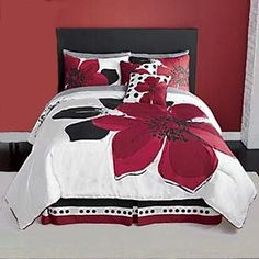Grand Linen 12 Pieces Marisol Red Black White Comforter Bed-in-a-Bag Set Queen Size Bedding+Sheets+Accent Pillows Full Size Comforter Sets, Red Bedding Sets, Red Comforter, Queen Size Bedding, Sheets Bedding, Black White Bedding, Kids Comforters, Bedroom Red, Bedroom Stuff