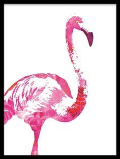Julisteet. Flamingo, posterit. Juliste, jossa vaaleanpunainen flamingo. Julisteemme painetaan korkean laadun takaamiseksi mattapintaiselle paperille.