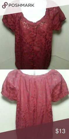 NWOT SONOMA BURGUNDY BOHO TOP NWOT SONOMA BURGUNDY SHORT SLEEVE BOHO TOP Appropriately lightweight for summer and transitions to the fall. This BOHO top is very feminine with short elasticized sleeves. Buttons and sequins adorn the front. Great for festival season! Sonoma Tops Blouses